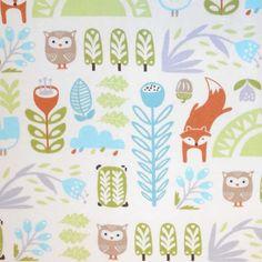Nursery Fabric- Fox And Owl Floral