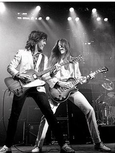 "Gary Moore and Scott Gorham , Thin Lizzy's 1979 ""Black Rose"" tour. Heavy Rock, Heavy Metal, Thin Lizzy Black Rose, Irish Rock, Jazz, Music Station, Rock Of Ages, Blues Artists, Music Pictures"