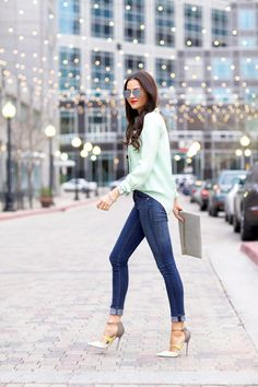 Mint J.Crew blouse x Jimmy Choo Typhoon heels...