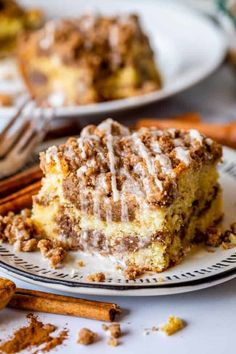 Sour Cream Coffee Cake, with a Ridiculous Amount of Streusel from The Food Charlatan. This is my FAVORITE recipe for Sour Cream Coffee Cake! My main complaint with Coffee Cake is that there is usually too much cake, not enough streusel. This recipe gives you the max amount of streusel without ruining the light fluffiness of the cake! A vanilla drizzle finishes it off! #coffeecake #sourcream #icing #frosting #drizzle #easy #recipes #cinnamon #streusel #sourcream #crumb #crumble #moist #breakfast Easy Cake Recipes, Dessert Recipes, Desserts, Sour Cream Coffee Cake, Coffe Cake, Coffee Cream, Plum Cake, Savoury Cake, Stick Of Butter
