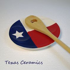 Texas Patriotic Flag Ceramic Spoon Rest Triple Slot Genuine True Texas | TexasCeramics - Housewares on ArtFire