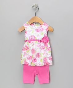 Take a look at this Pink Floral Lace Top & Capri Leggings by Baby Essentials on #zulily today!