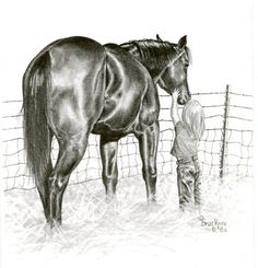 Draw Horses Little Girl and Horse Print entitled Soft Touch - Horse Drawings, Animal Drawings, Art Drawings, Drawing Art, Horse Artwork, Cowboy Art, Graphite Drawings, Horse Print, Equine Art