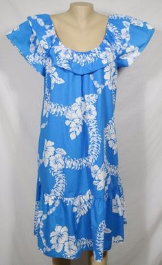 HILO HATTIE Blue/White Hawaiian Floral Print Dress Muumuu Caftan Elastic Collar #HiloHattie #Shift #SummerBeach