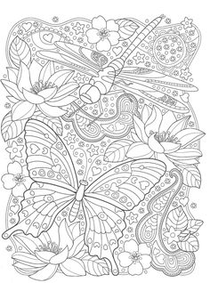 Butterfly Coloring Page, Adult Coloring Book Pages, Coloring Pages To Print, Colouring Pages, Coloring Sheets, Coloring Books, Detailed Coloring Pages, Free Adult Coloring, Printable Coloring