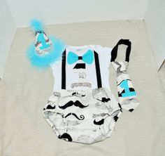 Rylo Mustache cake smash outfit with party hat First Birthday Outfit by RYLOwear, $12.00