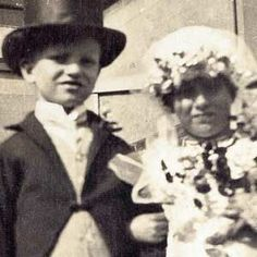 """Both 91 years old, the British couple were born in the same maternity unit in Kent and their love has gone platinum, the pair having recently celebrated their 70th anniversary. Their fathers were good friends and Ron and Eileen saw each other often growing up. In the picture on the left, they're posing as a bride and groom at a town carnival at age four. They got married for real at age 21. """"We have been in love from the age of zero,"""" said Mr Everest."""