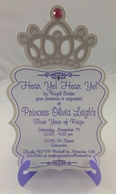 A pink and purple princess themed birthday invitation. The invitation is 6.5 inch X 4 inch and is adorned by rhinestones.  Inside the invite is a folded little easel, so when your guests get this they can set your invite somewhere to remind them to call you!  Plus it makes it look more regal!  from EPIC PARTIES on etsy