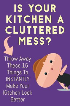Declutter Your Kitchen Clutter FAST By Purging These 15 Items Kitchen Clutter SOLUTIONS! Let's talk about how to get rid of kitchen stuff and WHAT kitchen stuff to get rid of for a tidy kitchen… Declutter Home, Declutter Your Life, Decluttering, Clutter Organization, Home Organization Hacks, Diy Cleaning Products, Cleaning Hacks, Tidy Kitchen, Kitchen Stuff
