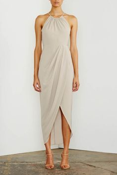 Shona Joy Ruched High Neck Maxi Oyster