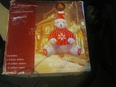 Gemmy Polar Bear with Red Snowflake Sweater 6' Airblown Inflatable HTF