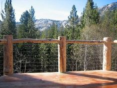 cabin deck railing ideas   ... log look using cable railing for open deck, ...   Mountain Cab