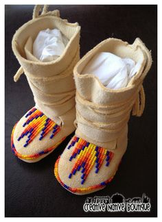 I made this order for a customer in Canada. She requested some newborn-sized wrap moccasins in a gender-neutral color. Native American Crafts, Native American Dress, Native American Fashion, Beaded Moccasins, Baby Moccasins, Native Beadwork, Native American Beadwork, How To Make Moccasins, How To Make Boots