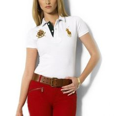 Ralph Lauren V-neck Big Pony Embroidery White Short Sleeved [rl 1046] -