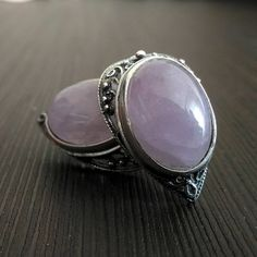 Earrings amethyst Purple Heart Valentine's Day Natural stone Silver ring Carved frame Russian Valentine's Day gift