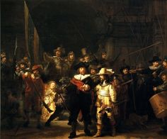 Rembrandt Van Rijn The Night Watch, , Rijksmuseum, Amsterdam. Read more about the symbolism and interpretation of The Night Watch by Rembrandt Van Rijn. Baroque Painting, Baroque Art, Large Painting, Italian Baroque, Artist Painting, Artist Art, Most Famous Paintings, Great Paintings, Oil Paintings