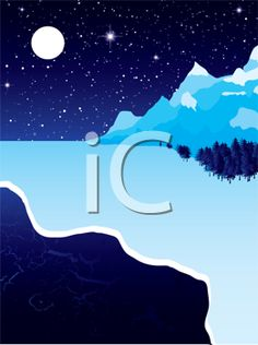 iCLIPART - Night landscape with winter snow ice and starry sky