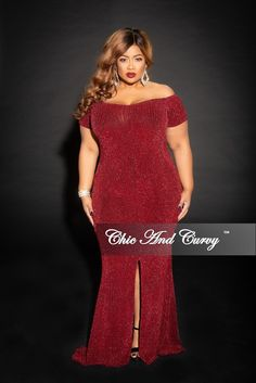 6d3b6aa986a Final Sale Plus Size Shimmer Off the Shoulder Long Dress with Front Slit  and Back Gold Zipper in Burgundy. Chic And CurvyPlus ...