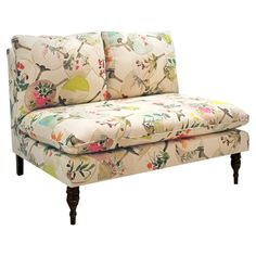 This could be a diy with patio cushions & extra fabric from Sunbrella (they have good looking things), legs from VanDykes, simple squared construction with 2x4s, plywood & batting. Mia Settee