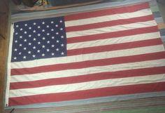 8'x5' Sewn 50 Star American Flag Americana USA Distressed Prim Shabby Polyester