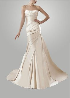 ELEGANT SATIN SHEATH STRAPLESS PLEATED WEDDING DRESS LACE BRIDESMAID PARTY COCKTAIL GOWN FORMAL BRIDAL