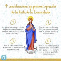 Te contamos 4 consideraciones que podemos aprender en la fiesta de la Inmaculada Concepción Mary And Jesus, Mother Mary, Santa Maria, Faith, Instagram, Original Sin, Christianity, Feast Of Immaculate Conception, Religious Quotes