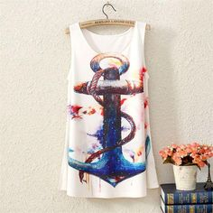 New Fashion Vintage Spring Summer Womens Sleeveless Anchor Graphic Printed T Shirt Tee Blouse Vest Tank Tops Blusas ST04A56