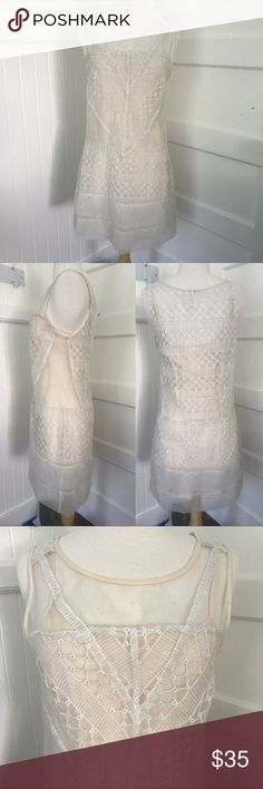 Free People Dress Free People Dress   • Sheer dress with nude colored slip underneath  • Beauiful eyelet designs on top layer • Worn 2 times, in excellent condition with no visible signs of wear  • True to size small, loose fit. No stretch in fabric   No trades please. Reasonable offers considered on single items and bundles! Bundle discount: 15% off 2 or more items ✨ Free People Dresses