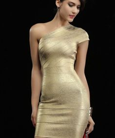 c49ced7a3f 2016 New Sheath Gold One Shoulder Sexy Club Wear Short Party Dress bodycon  Bandage Dresses Wholesale Elegant Stylish-in Dresses from Women s Clothing  ...