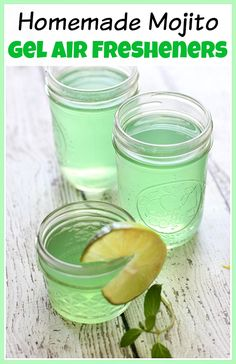 DIY Minty Lime Gel Air Freshener! Many traditional air fresheners contain hazardous ingredients. Be safe and make your home smell great by making these homemade mojito gel air fresheners!