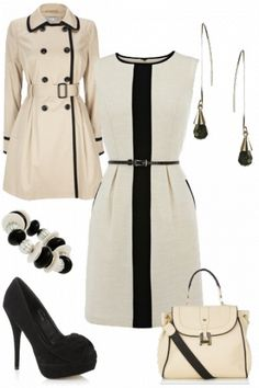 Smart two tone cream and black outfit - love this! #style #fashion #outfit