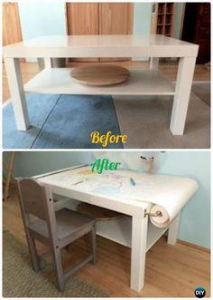 DIY IKEA Kids Art Craft Desk Makeover Instructions - Back-To-School Kids #Furniture DIY Ideas Projects
