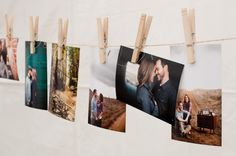 Love the clothesline concept to show photos from the engagement and temple sealing.
