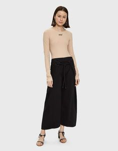 Contemporary pants from Maison Margiela in Black. Woven drawcord adjustment at waist. Denim Pants, Cropped Jeans, Rachel Comey, Pants For Women, Legs, Model, Tie, Collection, Fashion
