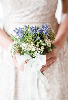Brides: Classic White & Blue Posy with Muscari. A simply posy comprised of muscari and spirea, created by Blossom Artistry.