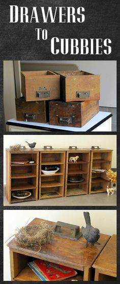 Turn some thrifted drawers into a cubby - great DIY project to get that Restoration Hardware look