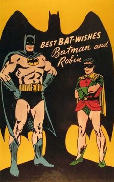 """kitsch retro superhero greetings cards """"Best Bat-wishes"""" Vintage Postcard great to remake for fathers day or mens birthday cards Vintage Birthday Cards, Vintage Cards, Vintage Postcards, Vintage Images, Vintage Labels, Dc Comics, Batman Comics, Comics Vintage, Vintage Comic Books"""