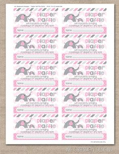 Pink Elephant Printable Diaper Raffle Tickets