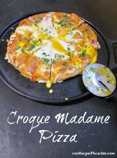 This pizza turns a French favorite on its head.  The creamy bechamel, melted cheese and ham with just a touch of dijon really come together to make a delicious pizza but the egg on top takes it over the edge!  I can't wait to make this again!