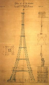 An early sketch of the Eiffel Tower