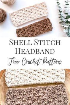 Easy Crochet Headbands, Easy Crochet Hat, Crochet Shell Stitch, Earwarmer Headbands, All Free Crochet, Baby Headbands, Crochet Ear Warmer Pattern, Crochet Beanie Pattern, Free Crochet Headband Patterns