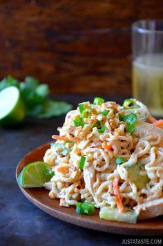 Thai Chicken Pasta Salad | recipe via justataste.com