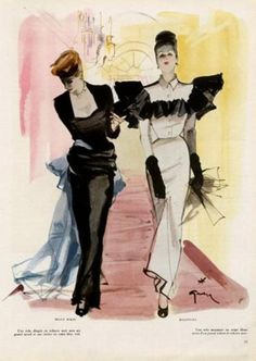 René Gruau illustration - Maggy Rouff & Balenciaga, 1945