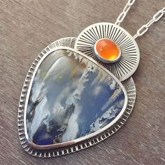 -jelly opal (fire opal) and a plume agate doublet on lapis) silver textured pendant / necklace - water and fire theme / ice and fire Agate Jewelry, Gems Jewelry, Metal Jewelry, Jewelry Art, Sterling Silver Jewelry, Jewelery, Jewelry Necklaces, Jewelry Design, Jelly Opal