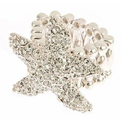 Silver Tone Stretchy Starfish Ring