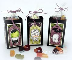 LITTLE BITS MUMMY, FRANKIE and GHOSTY Rubber stamp by Stamping Bella, TREAT BOXES by SANDIE DUNNE