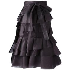 COMME DES GARCONS tiered flounce skirt ($575) ❤ liked on Polyvore featuring skirts, steampunk, bottoms, costume, ruffled skirts, tiered ruffle skirt, a line skirt, steampunk skirt and knee length a line skirt