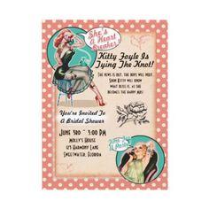 Shop Pin Up Girls Bridal Shower Party Invitations created by vintageweddinginvite. Engagement Party Invitations, Pink Invitations, Bridal Shower Invitations, Invitation Cards, Pin Up Party, Retro Party, Bridal Shower Party, Pin Up Girls, Tattoo