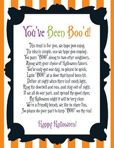 "You've Been Boo'd Halloween Printables. Great way to ""treat"", not ""trick"" your neighbors this Halloween!"