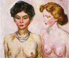 Edvard Munch, Rubia y morena desnudas, 1902-3. Óleo sobre lienzo, 60.3 x 70.5 cm, Colección particular